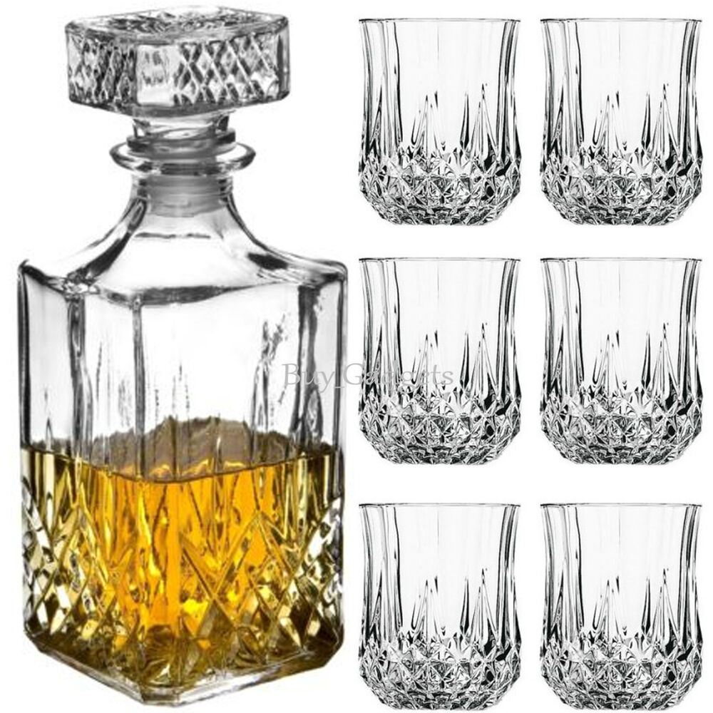 6 x 200ml glass whiskey wine tumblers square glass decanter bottle boxed set 7091045824341 ebay. Black Bedroom Furniture Sets. Home Design Ideas