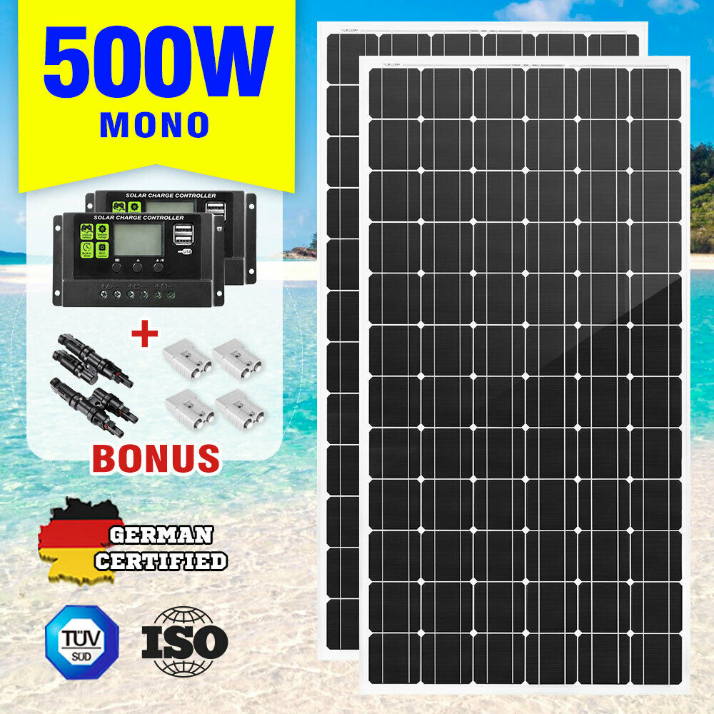 500w 12v Mono Solar Panel Kit Caravan Power Battery Charging Pair Mini And Charger Test Home Circuits 250w 501560104141 Ebay