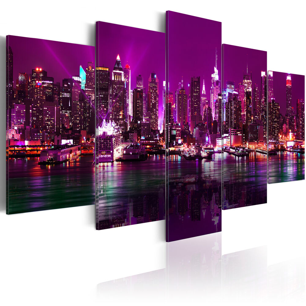 leinwand bilder xxl kunstdruck wandbild new york violett skyline stadt 9020131 ebay. Black Bedroom Furniture Sets. Home Design Ideas