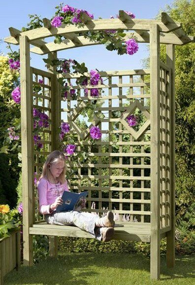 rosenbogen pergola mit bank gartenbank arkadenbank aus. Black Bedroom Furniture Sets. Home Design Ideas