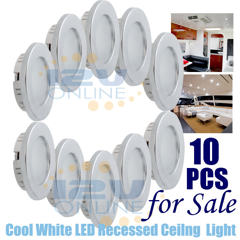 10PCS 12V 70MM LED Recessed Ceiling Light RV Boat Under