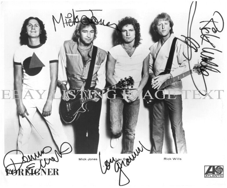 foreigner band autographed 8x10 rp promo photo great