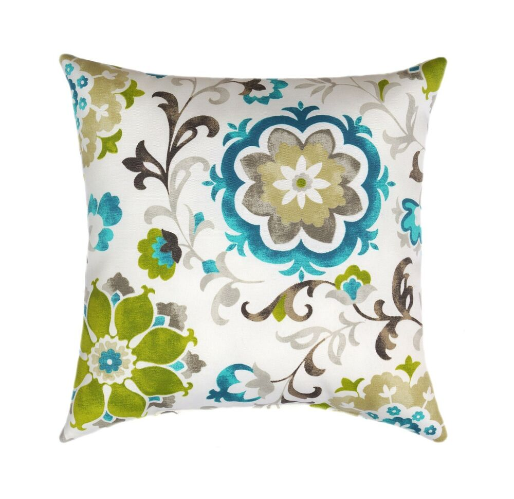 Large Decorative Outdoor Pillows : Mill Creek Sislo Eucalyptus Teal Suzani Floral Outdoor Decorative Throw Pillow eBay