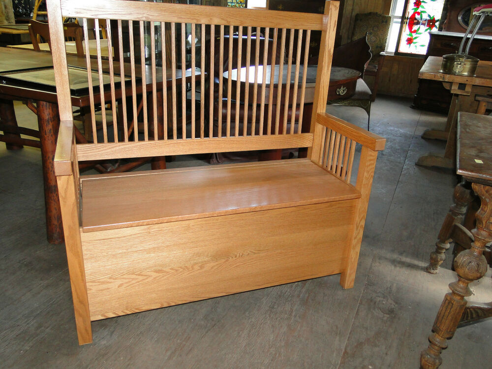 Mission Style Oak Lift Top Bench Made By The Amish Ebay