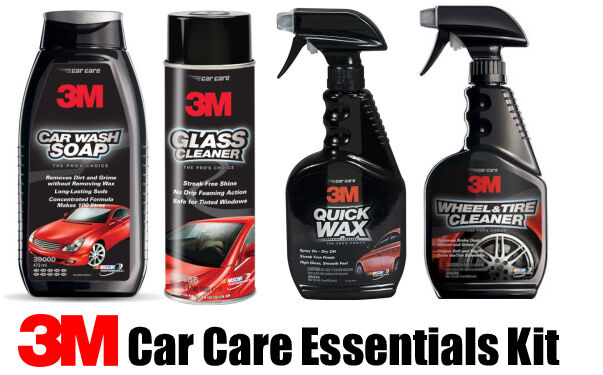 3m car care essentials kit wash soap quick wax wheel tyre cleaner glass valeting ebay. Black Bedroom Furniture Sets. Home Design Ideas