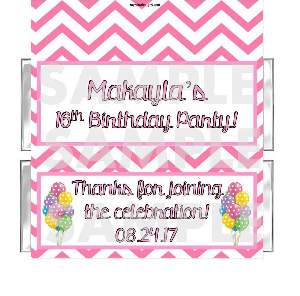 18th Birthday Birthday Party Favor Gumball Candy: Personalized CHEVRON DESIGN Birthday Party Candy Bar