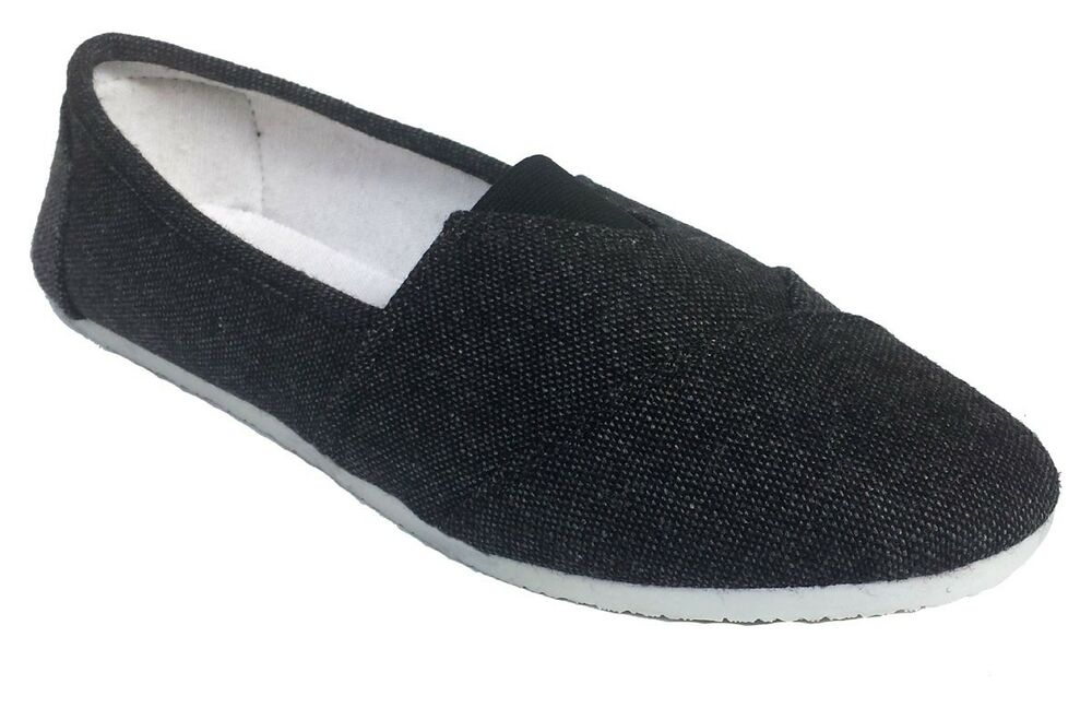 womens casual slip ons flax black canvas shoes comfortable
