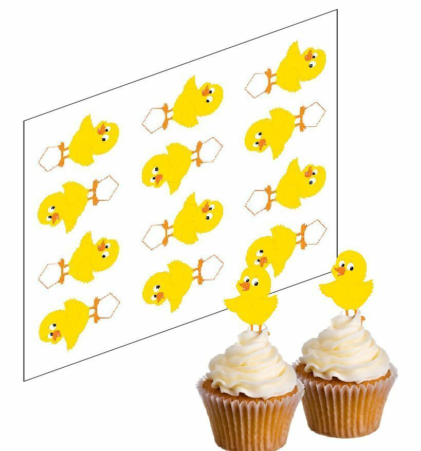 12 Easter Chick Edible Cupcake Picks Rice paper Cake ...