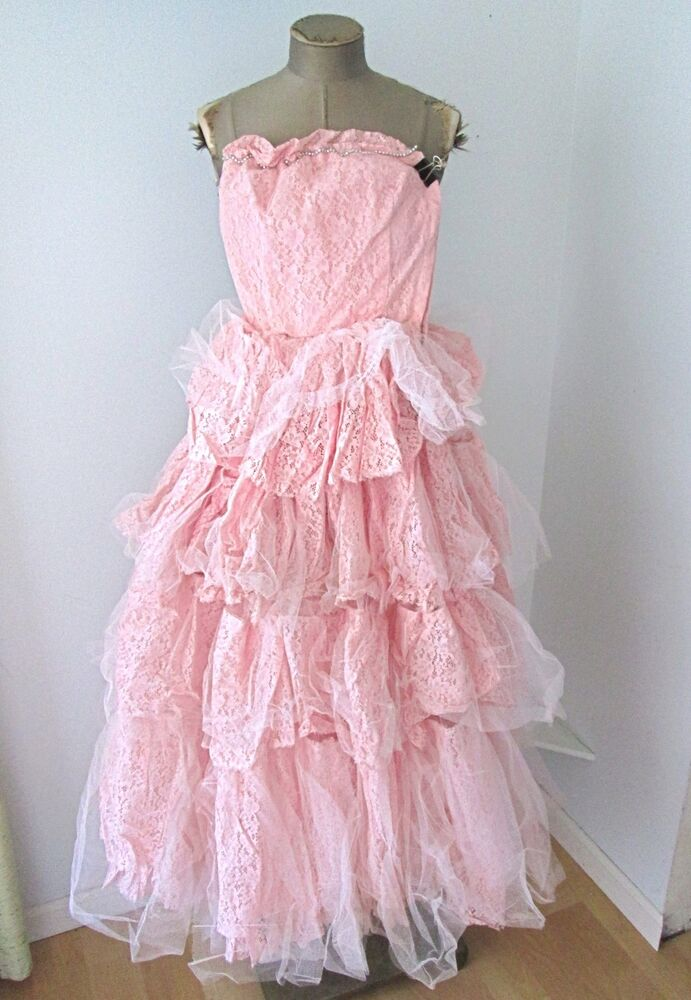 Vtg 50s Pink Satin Tiered Lace Tulle Strapless Prom Ball ...