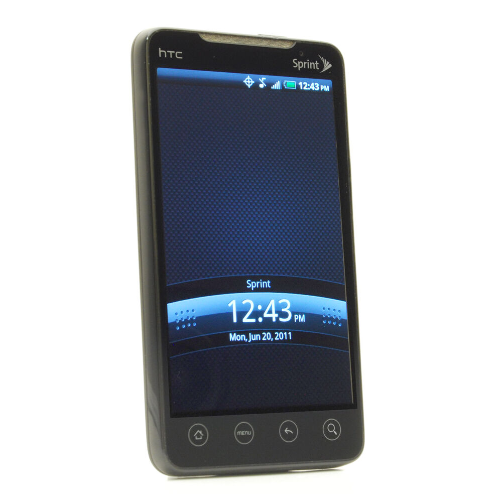htc evo 4g 1gb black sprint smartphone 821793000578 ebay. Black Bedroom Furniture Sets. Home Design Ideas
