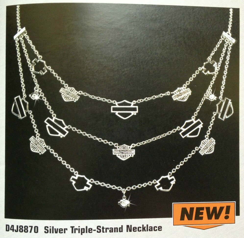 Harley Davidson Ladies Silver Triple Strand Necklace From