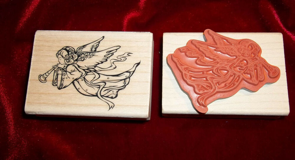 Hero arts crafts angel playing horn rubber stamp cherub ebay for Rubber stamps arts and crafts