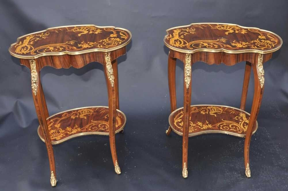 Pair Louis Xv Rococo Side Tables Cocktail Sofa Table Ebay