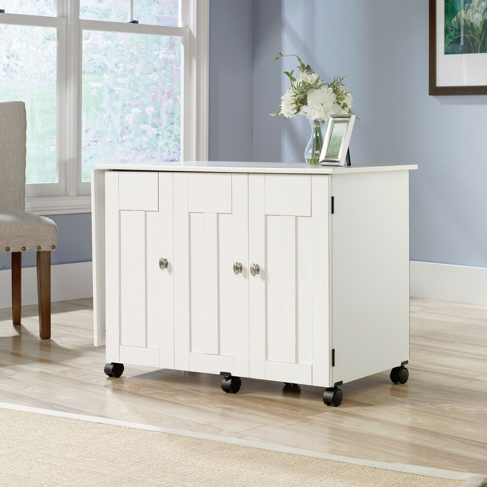 New Sauder Sewing Craft Storage Cabinet Cart Table Soft