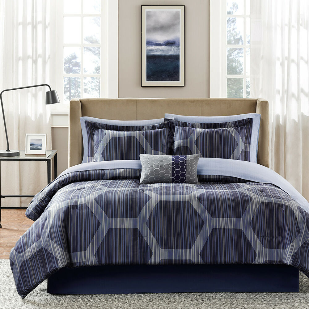 Beautiful Modern Elegant Blue Grey Navy Geometric Stripe