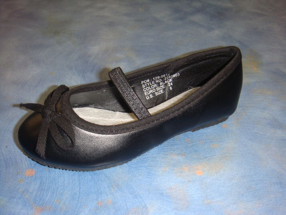New Baby Girl Black Flats Ballerina Slippers Slip