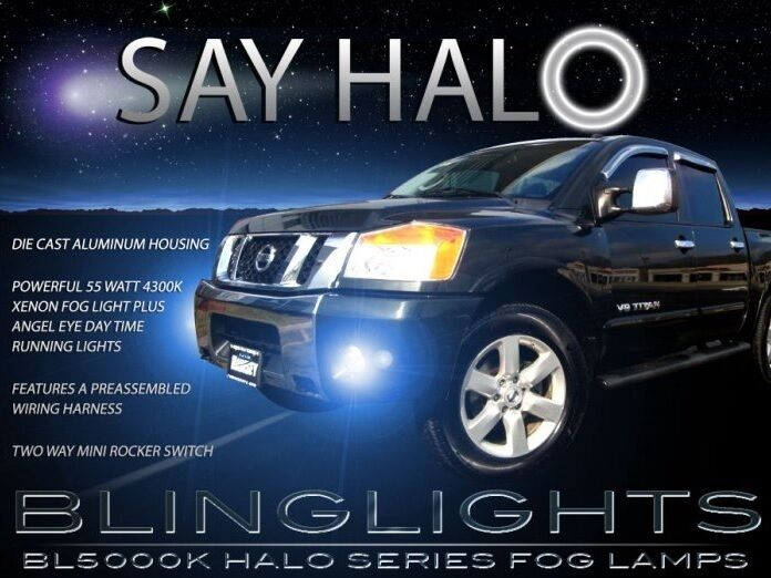 White Halo Fog Lamps Xenon Halogen Driving Lamps Kit For