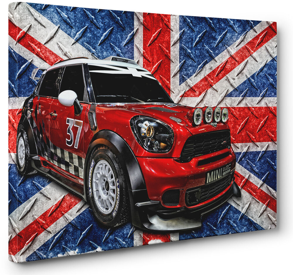 red white blue mini cooper car canvas print union jack. Black Bedroom Furniture Sets. Home Design Ideas