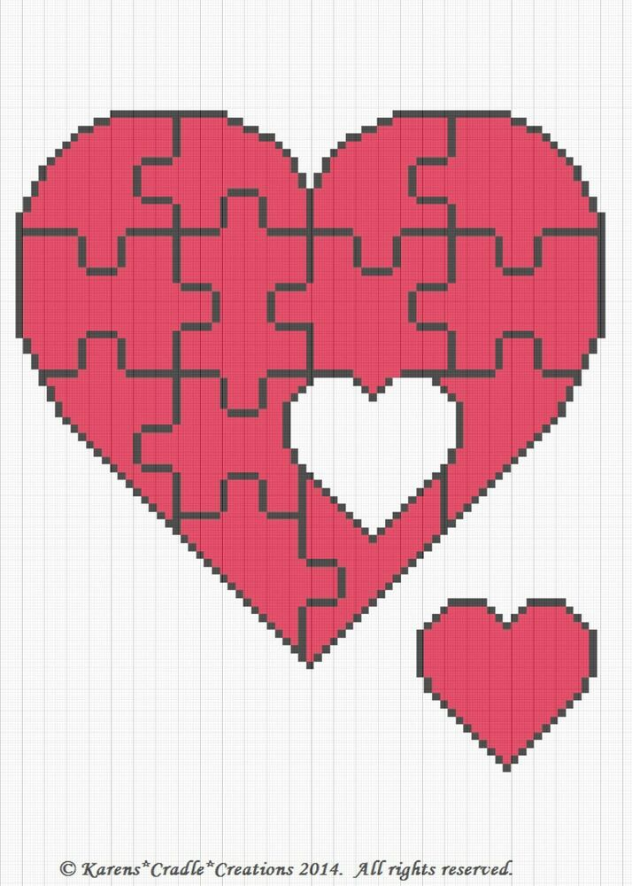 Crochet Pattern Autism Heart Puzzle Graph Chart Afghan Pattern | eBay