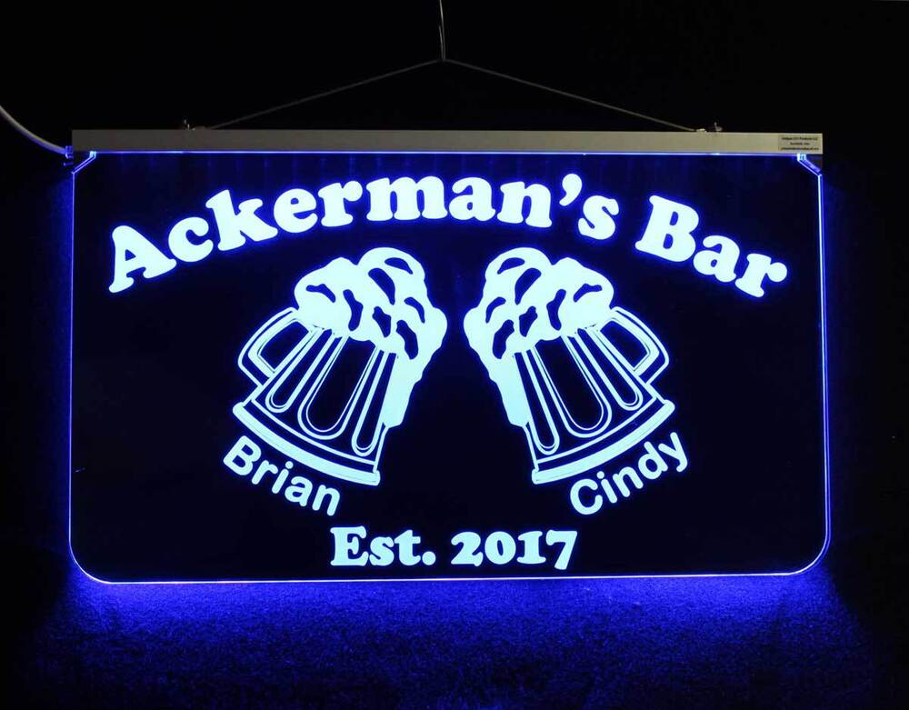 Personalized Bar Pub Sign, Hanging Multi-Color Changing