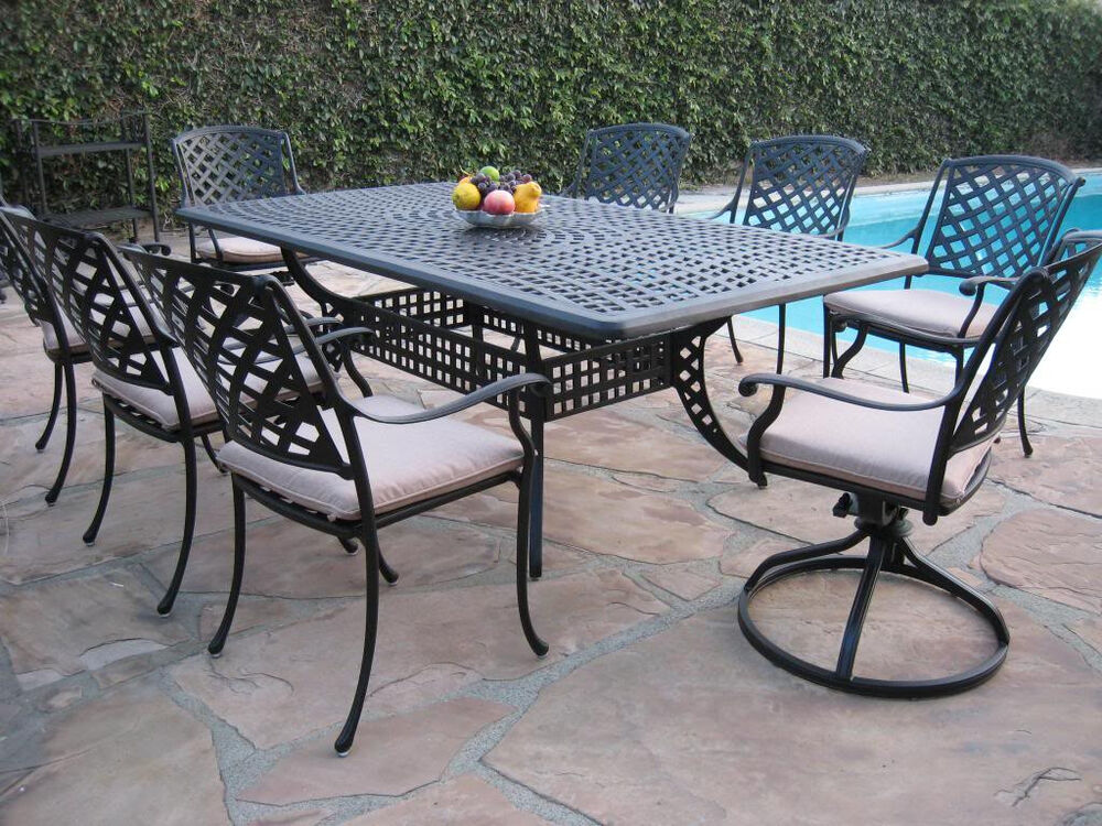 Outdoor cast aluminum patio furniture 9 piece dining set for Patio furniture sets