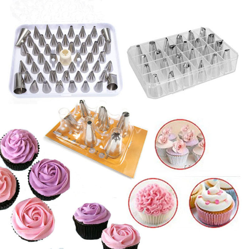 How To Make Cake Decorating Nozzles At Home : 6/24/52Pcs Icing Piping Nozzles Pastry Tips Cake Cupcake ...