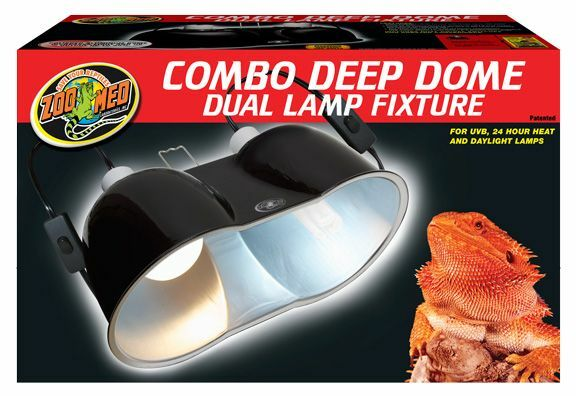 Zoo Med Combo Deep Dome Dual Lamp Fixture Black Day