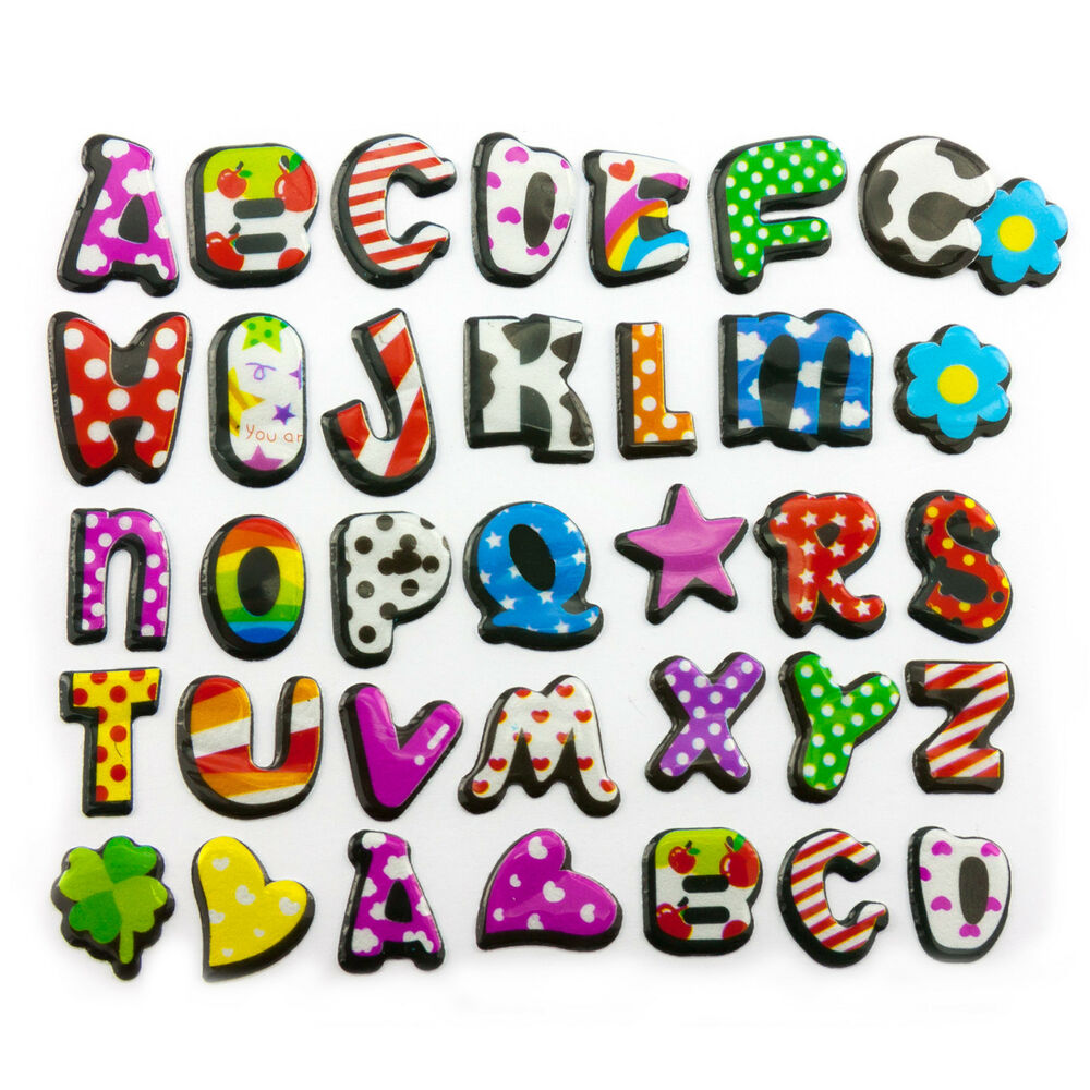 buchstaben 3d sticker alphabet aufkleber kinder lernen. Black Bedroom Furniture Sets. Home Design Ideas