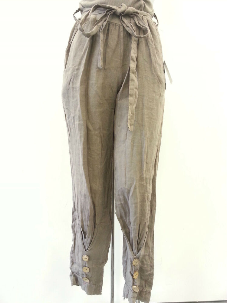 new ladies italian lagenlook boho linen trousers 3 button