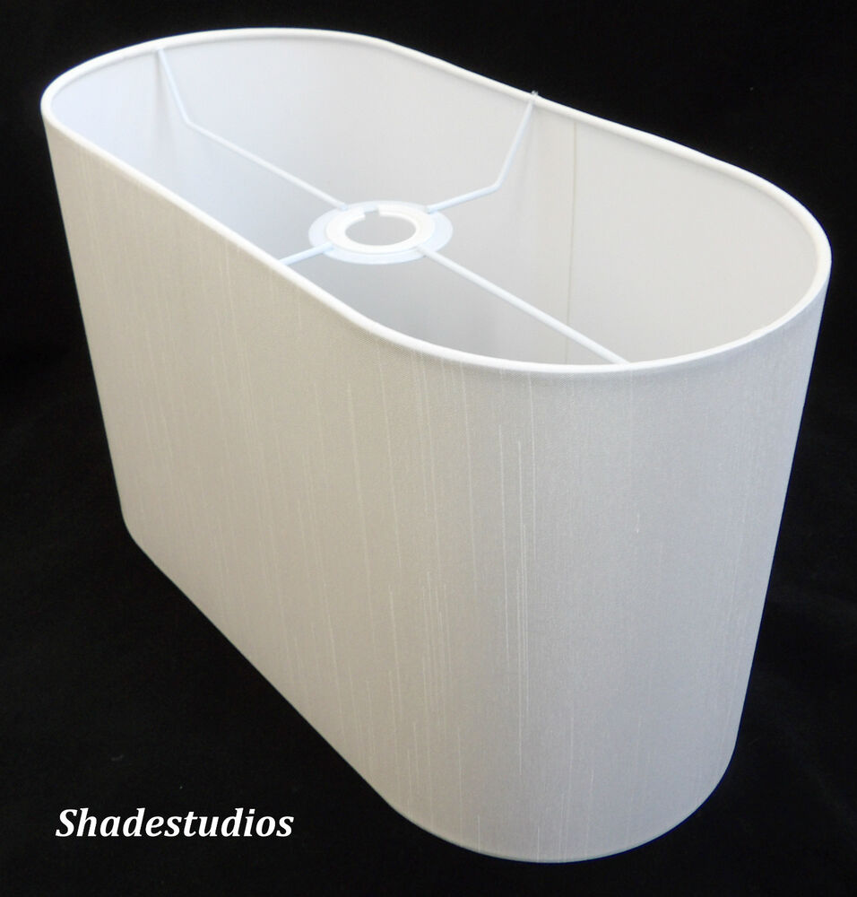 Hand Made Flat Sided Oval Lampshade With Ivory Satin