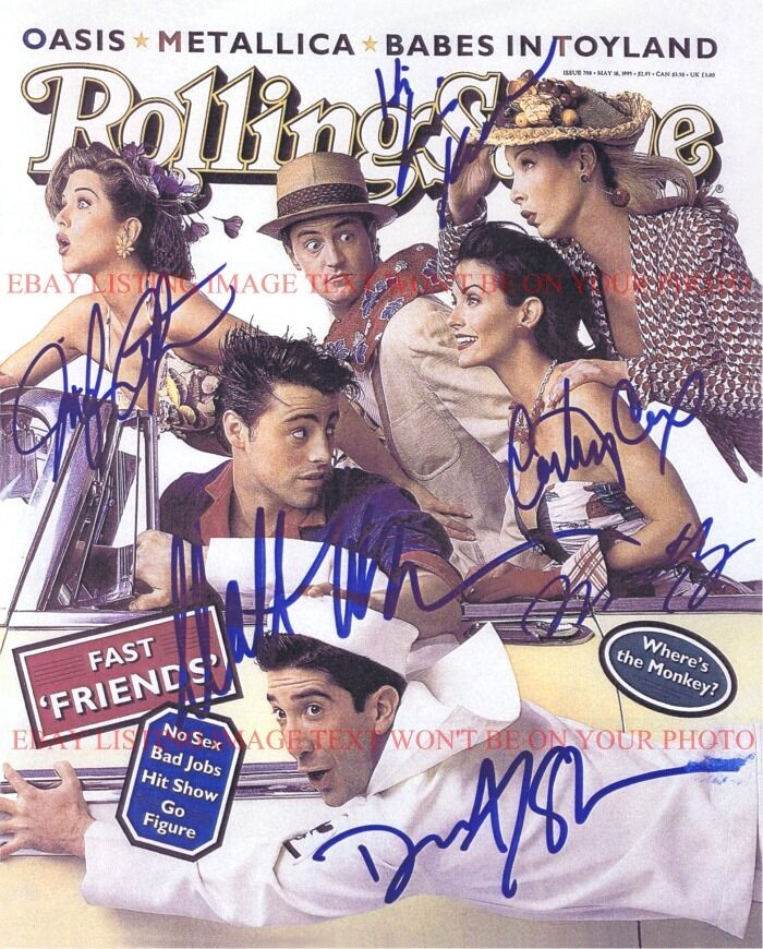 Friends Cast Autographed 8x10 Rp Photo Aniston Cox Perry