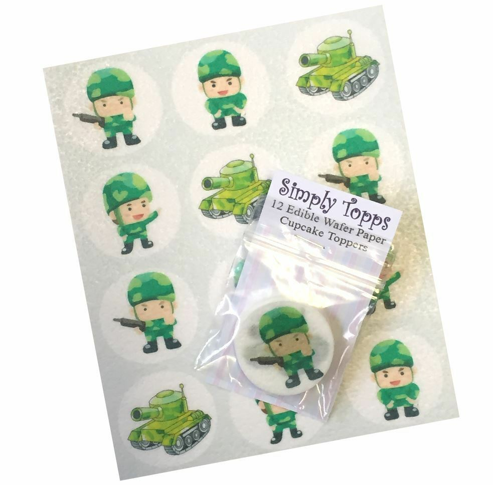 12 soldier tank army cupcake toppers precut 40mm edible for How to make edible cake decorations at home