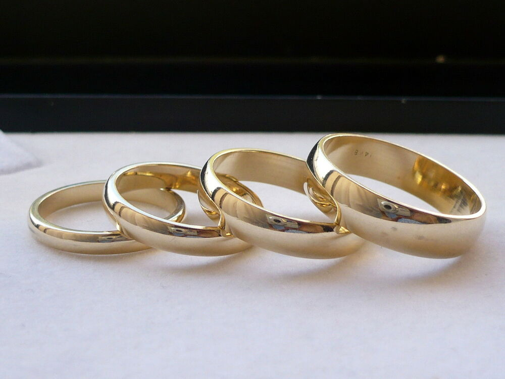 3mm 4mm 5mm 6mm 14k solid gold men 39 s women 39 s wedding band ring fre