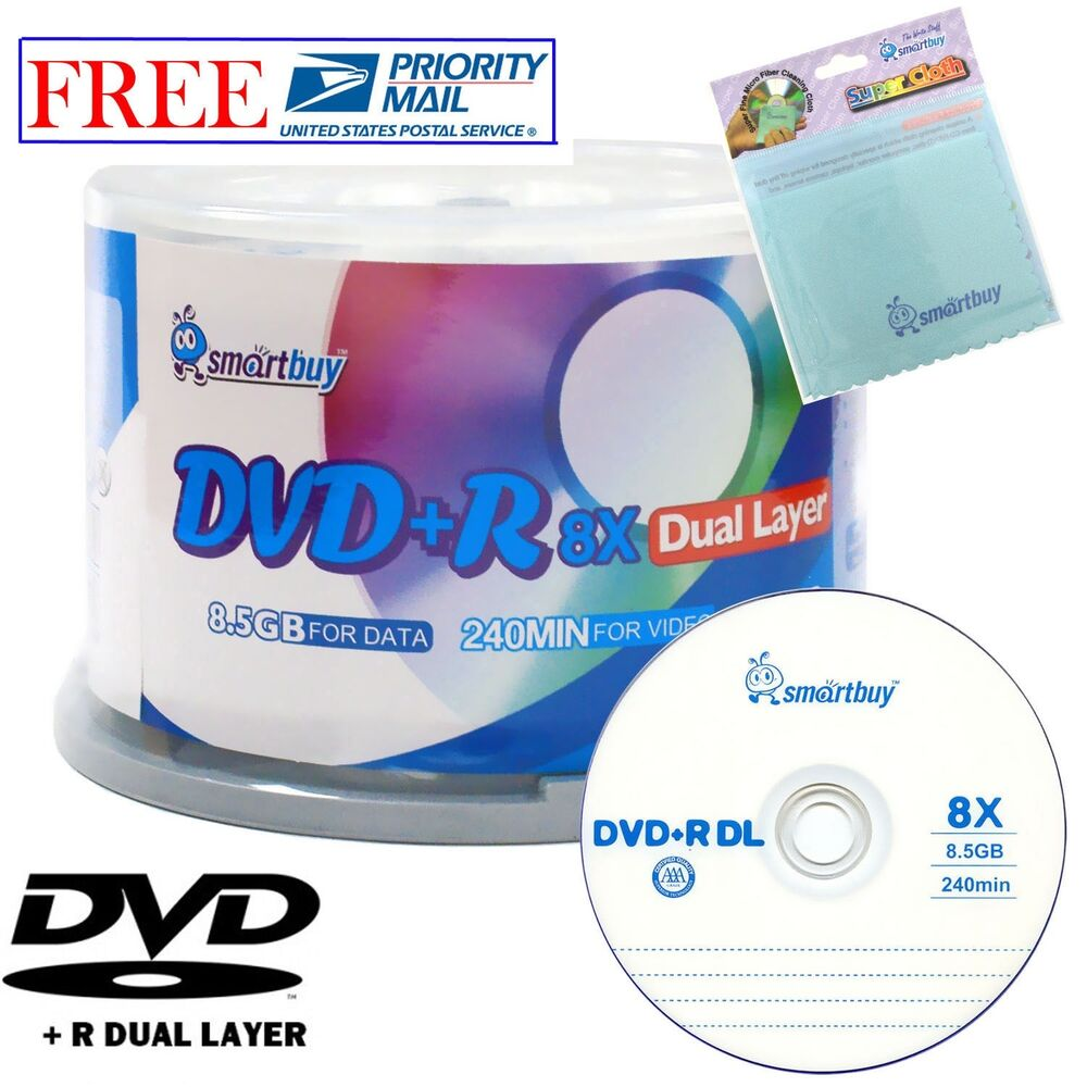 50 smartbuy dvd r dl 8x 8 5gb dual layer logo blank disc. Black Bedroom Furniture Sets. Home Design Ideas