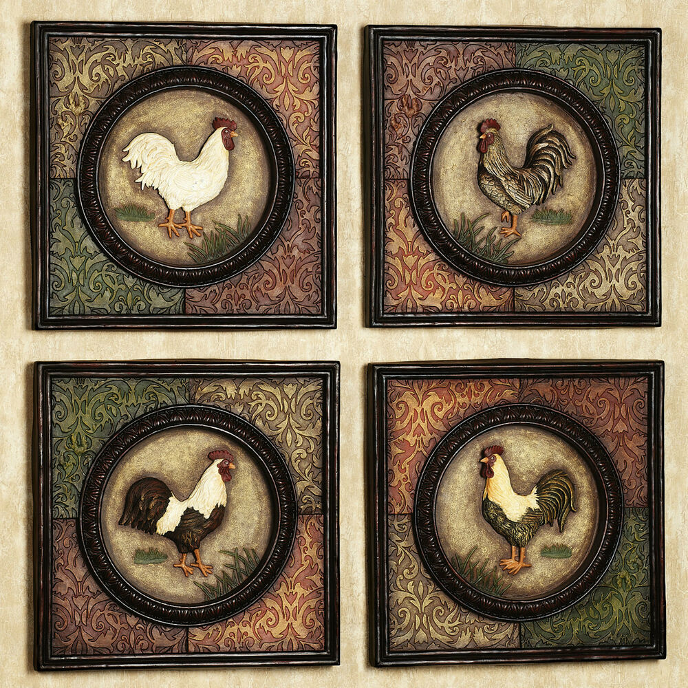 country rooster wall plaques set of 4 farm animal picture. Black Bedroom Furniture Sets. Home Design Ideas