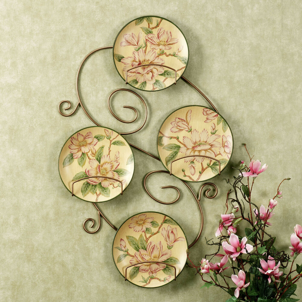 DECORATIVE PLATES FLORAL MAGNOLIAS WALL HOME DECOR SET4 ...