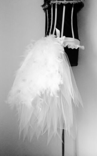 White Swan Burlesque Tutu Skirt Bustle Belt Feathers Bridal Sexy Fancy Dress