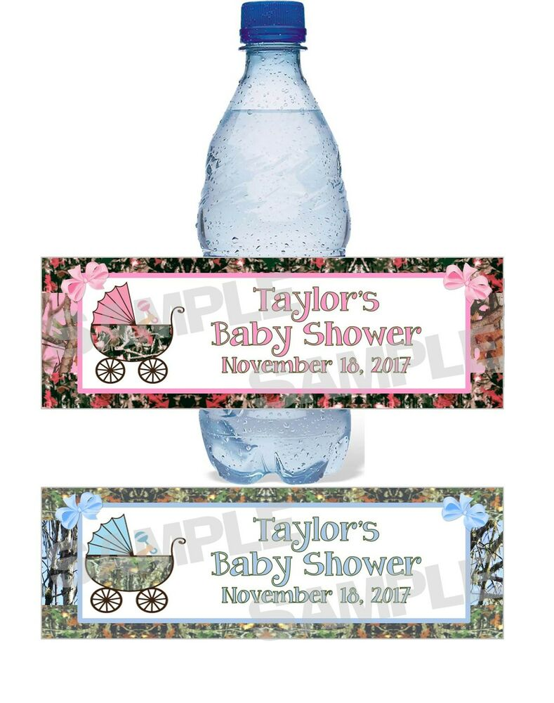 Personalized Camouflage Camo Baby Shower Water Bottle
