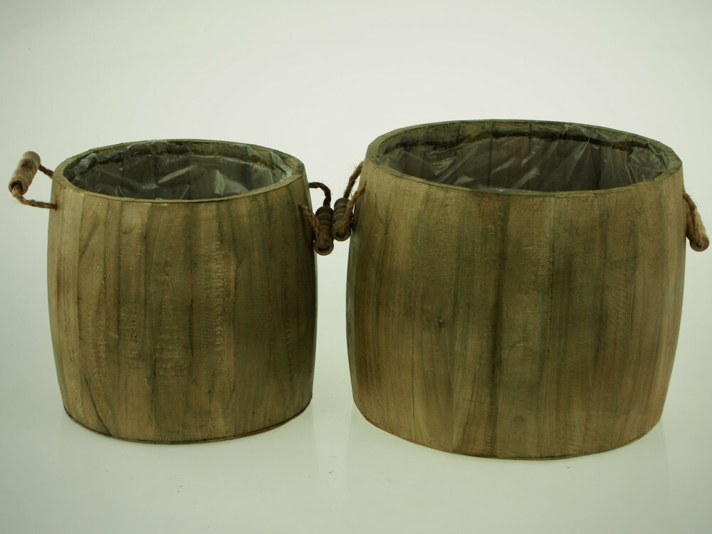 Natural Wooden Basket Barrel Planters Handles Floral