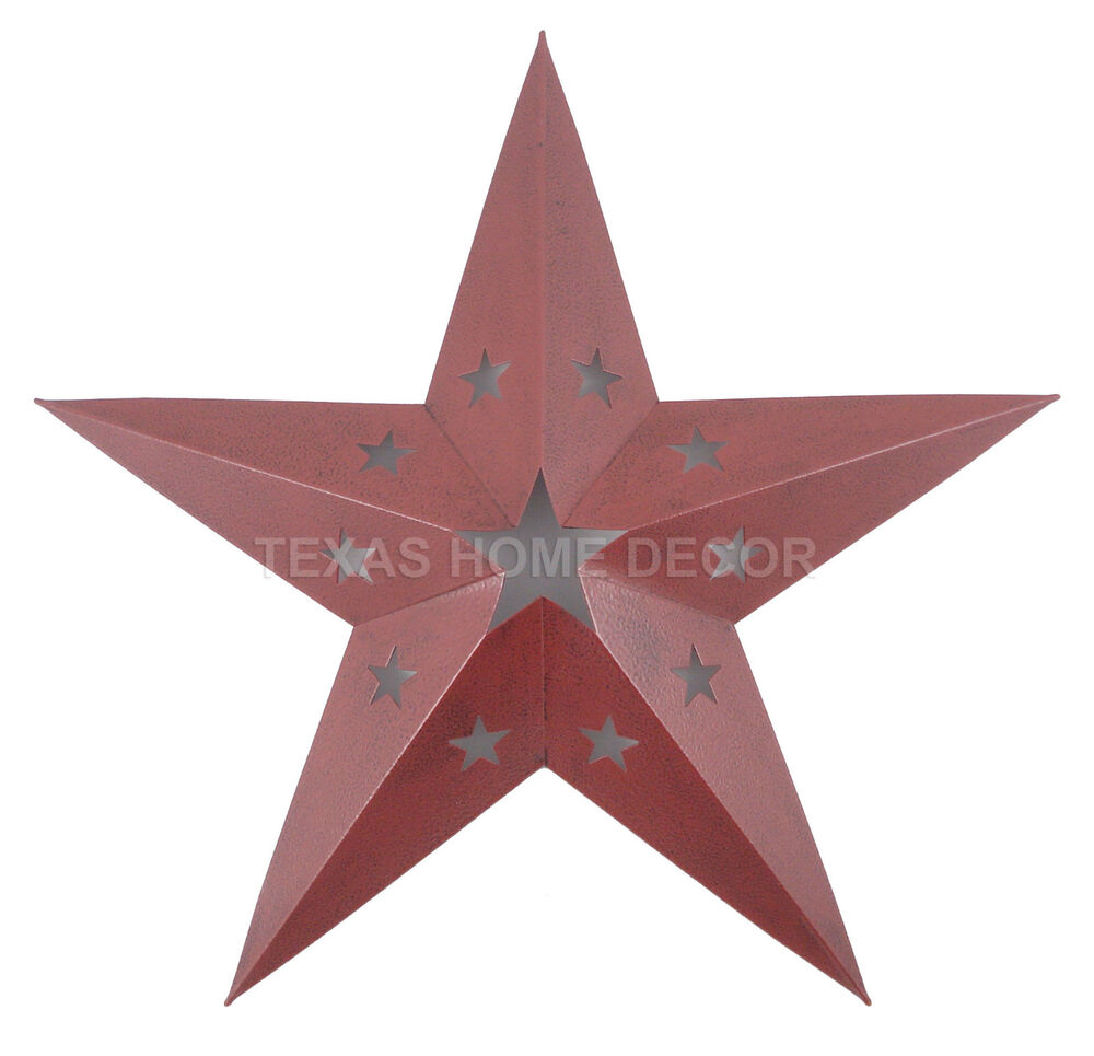 western primitive punched barn star tin metal red wall d cor rustic texas 15 in ebay. Black Bedroom Furniture Sets. Home Design Ideas