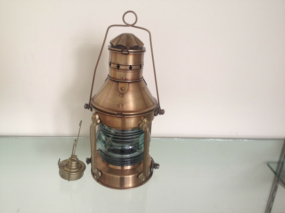Vintage Brass Cargo Ship Railroad Glass Oil Kerosene ...