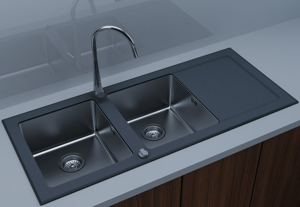 Designer Stainless Steel Sinks : Designer Zara 2 Double Bowl Kitchen Black Glass Stainless Steel Sink ...