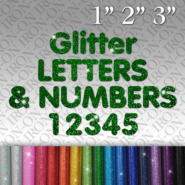 glitter iron on letters glitter letters amp numbers iron on fabric t shirt transfer 21955