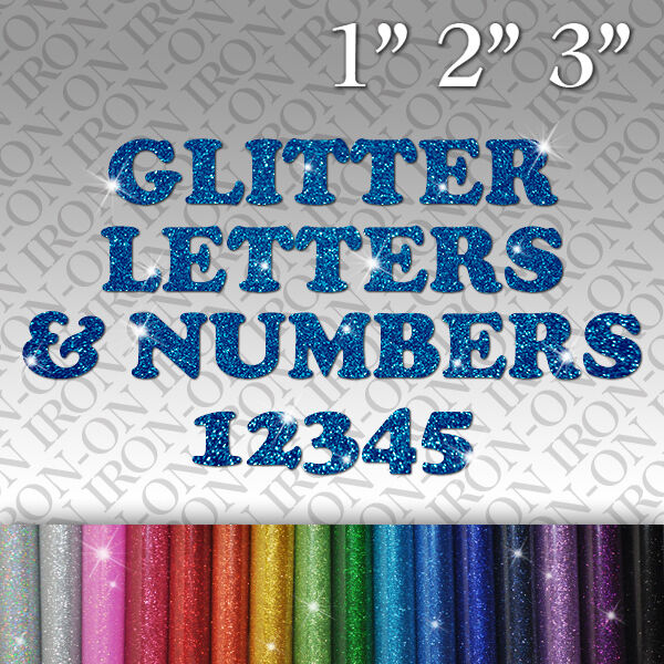 Glitter Letters Numbers Iron On Tshirt Fabric Transfer Hot
