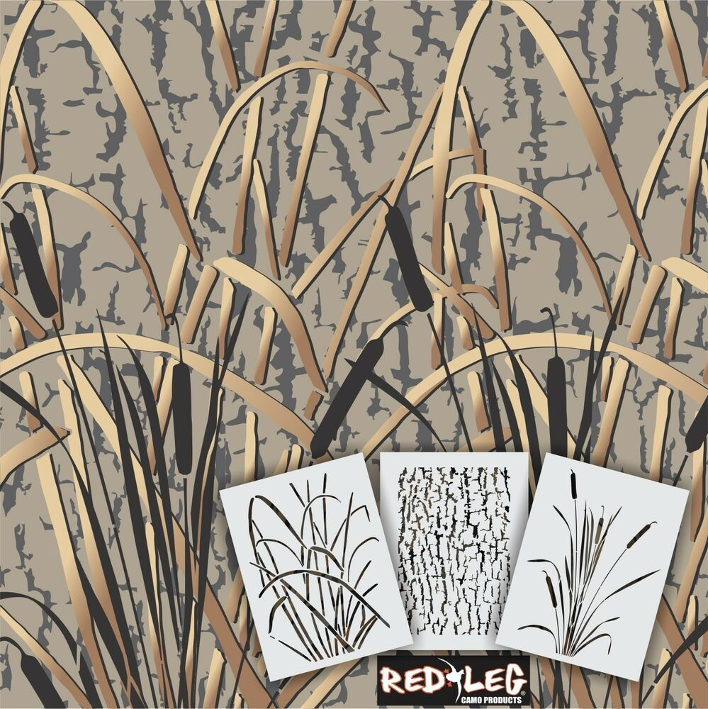 Redleg camo stencils gk 3 piece grass wetland camouflage for Camo paint template