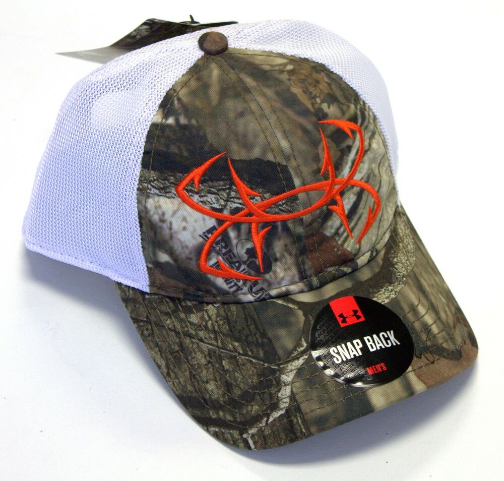 Under armour fish hook camo mesh back hat ebay for Fish hook on hat