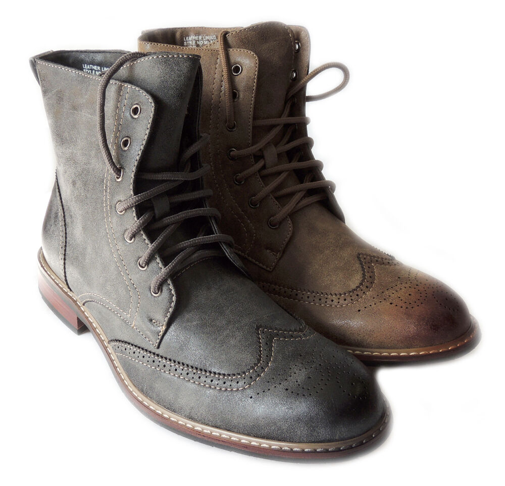 new mens fashion high ankle boots lace up oxfords wing tip