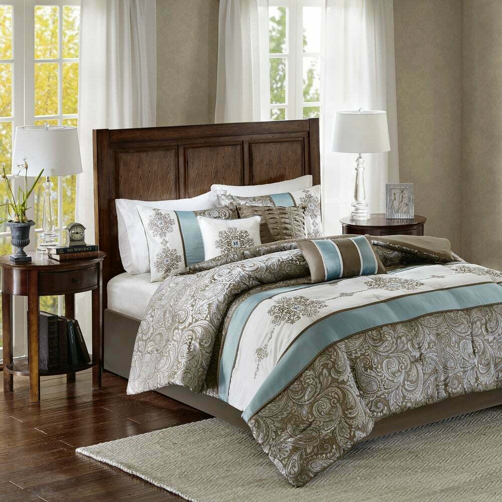 Beautiful 7pc modern elegant brown blue stripe white grey for Elegant white comforter sets
