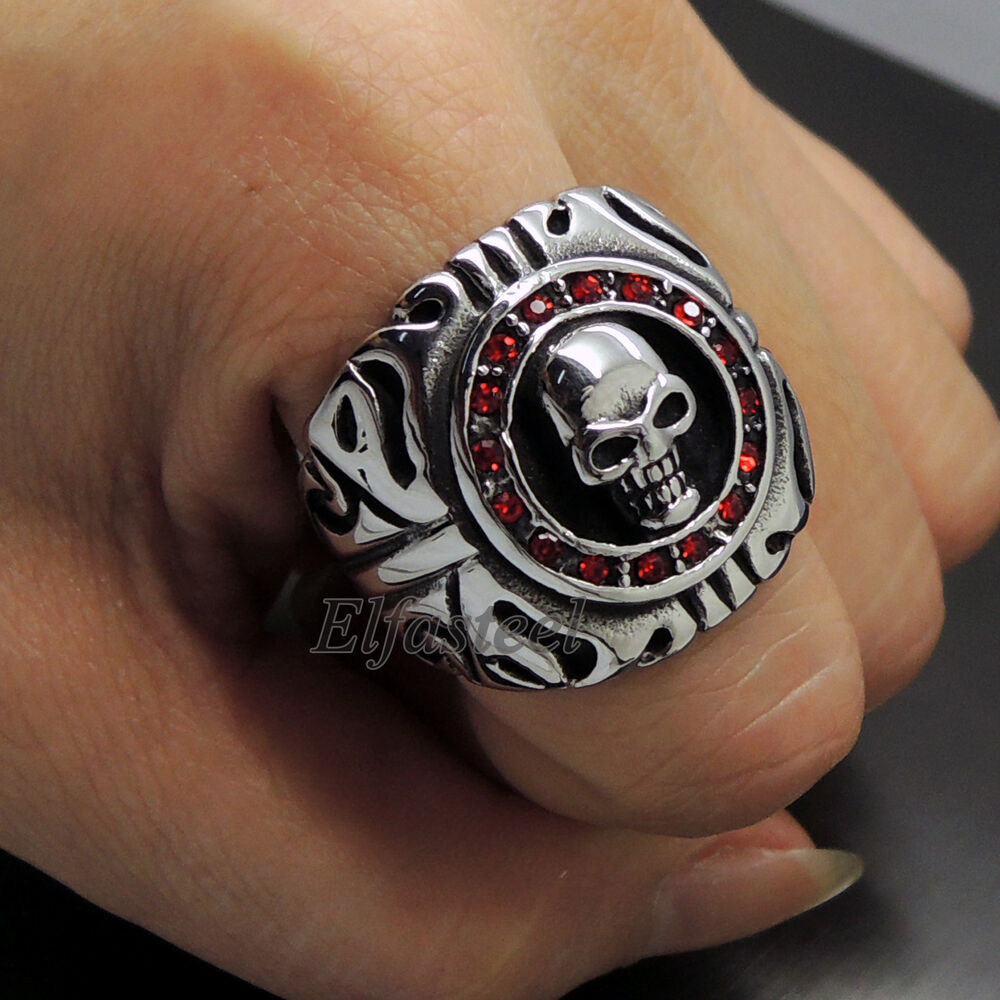 Mens ruby red czs skull 316l stainless steel biker ring ebay for Biker jewelry stainless steel
