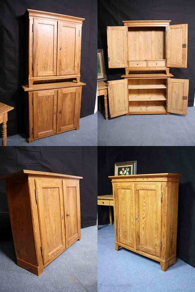 2 schmale antike biedermeier k chenschr nke. Black Bedroom Furniture Sets. Home Design Ideas